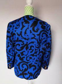 Veste vintage bleue et noire boutons cuivre