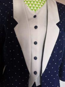 Ensemble jupe + haut blazer vintage bleu marine et blanc