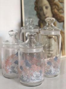 Série de 4 pots en verre moucheté vintage