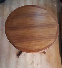 table ronde avec rallonge baumann 1970    pied bois massif