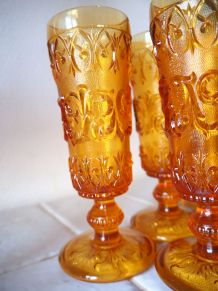 Six flûtes à champagne Empoli oranges vintage 50's 60's