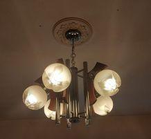 Lustre vintage Mazzega aux boules Murano
