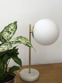 Lampe de bureau marbre et laiton design vintage
