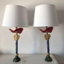 Paire lampes vintage 1994 de table Fondica plomb Pierre Case