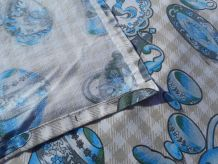 tissu années 70 beige /bleu/gris