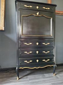 Secrétaire noir et doré style Louis XV