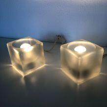 Paire lampes vintage 1970 chevet ice cubes Peill & Putzler