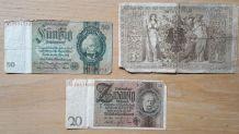 3 billets  de banque Allemand 1910-1933