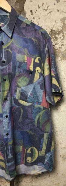 Chemise vintage motifs colorés