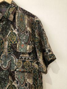 Chemise vintage à motifs manches courtes
