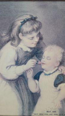 Ancienne carte postale 1890  Cadre sous verre cerclé métal a