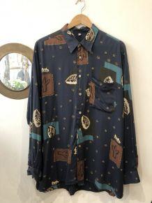 Chemise vintage à manche longue à motifs