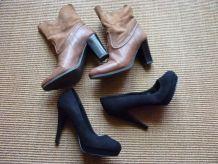 2 paires chaussures bottine et talon haut jonak taille 37