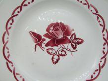 """plat Digoin Sarreguemines """"Michel"""" décor de roses"""