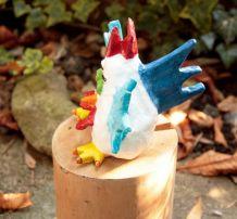 Poule en papier mâché Statuette pièce unique fait main