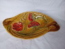 Coupe à fruits en céramique émaillée décor fleurs