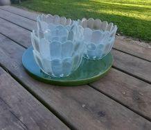 6 coupelles dessert en verre épaisseur, forme corolle