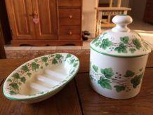 Ensemble Pot à coton et Porte savon porcelaine SIA