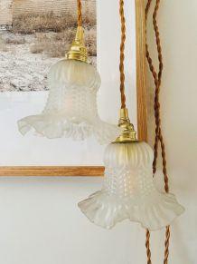 Duo de Lampes baladeuses en verre moulé vintage forme tulipe