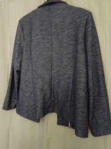 Veste en maille Bleu Chiné Damart, col Tai, taille 50