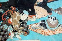 Ukiyo-e estampe encadrée Yoshichika oban tate-e