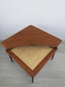 Table basse d'angle Minerva scandinave teck Peter Hvidt 1960