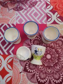 Lot 5 coquetiers porcelaine