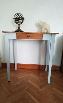 table bureau de ferme bleu glacé