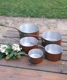 5 casseroles anciennes cuivre et etain