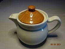 Théière Pillivuyt n°4 ronde bicolore porcelaine vintage