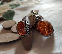 Superbes pendentif & bague Ambre & argent 925 décor feuilles