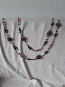 Sautoir ou collier perle et fourrure