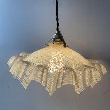 ANCIENNE LAMPE SUSPENSION VERRE DE CLICHY VINTAGE