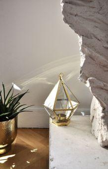 lanterne, verre et laiton