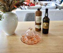 plateau + carafe + 8 verres à liqueur
