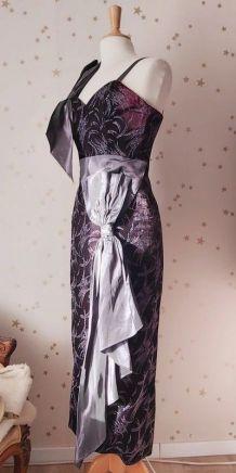 80s robe bustier velours paillettes noeuds S