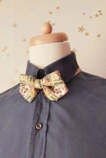Vintage noeud papillon imprimé provençal soie
