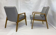 Paire de fauteuils scandinaves années 60 restaurés tissu gri