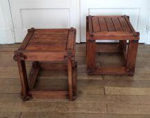 Paire de table d'appoint en bois massif dlg de Pierre Chapo
