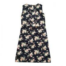 60s robe fleurie noir S