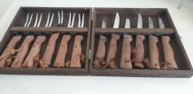 Coffret bois 6 couteaux et fourchettes à steack
