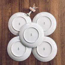 Très joli lot de 5 assiettes à dessert en porcelaine Vintage