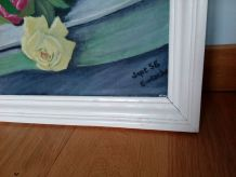Tableau bouquet de fleurs huile sur toile signée Eustache