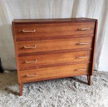 Commode 4 tiroirs en bois massif – années 60