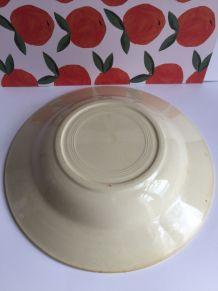 Assiette creuse vintage décor fleuri orangé