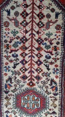 TAPIS artisanal persan Shiraz motifs géométriques beige roug