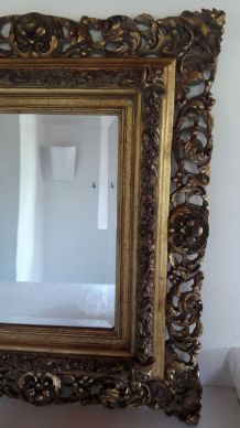 Miroir ancien bois doré style Florentin Baroque 19me