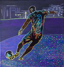 Peinture  acrylique pièce unique joueur de football.