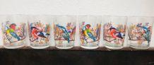 6 verres décor oiseaux  signés Reims