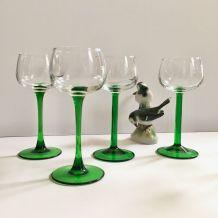Lot de 4 verres à pied vert Vintage
